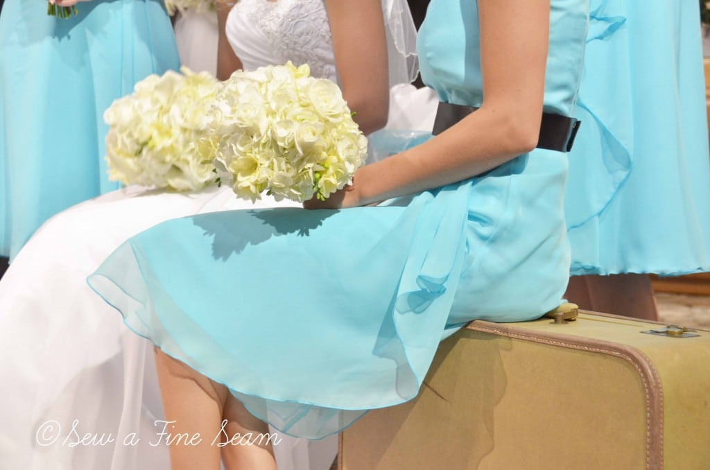 Wedding dresses in blue