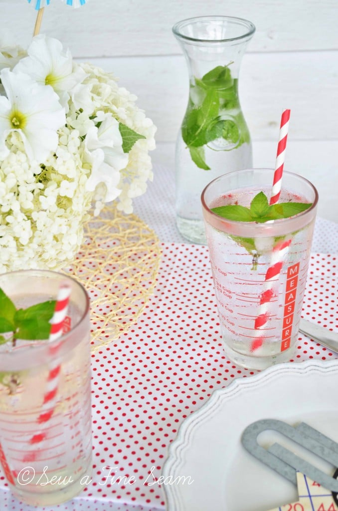 independence day tablescape glasses