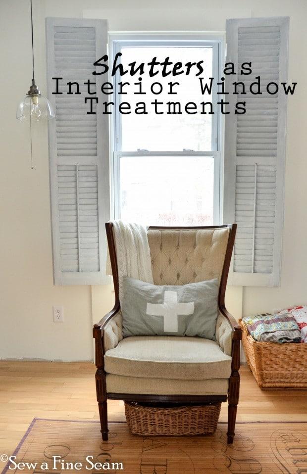 vintage shutters as window treatments