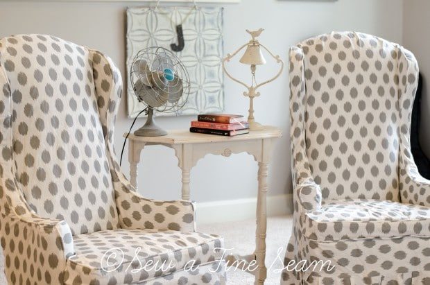 white and grey dot slipcovered chairs (3 of 5)