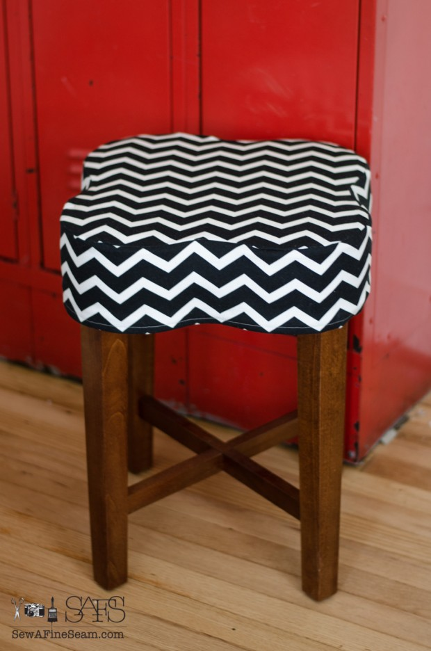 flower shaped ottoman cover chevron