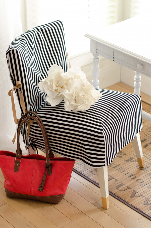 black and white and gold slipcovered chair-1