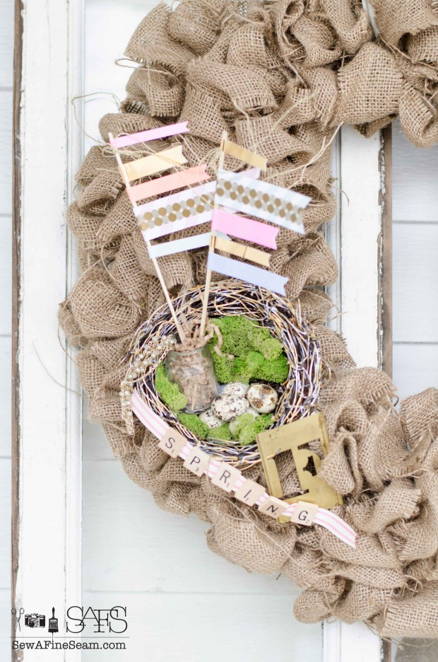 burlap spring wreath upcycle