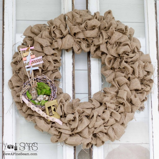 burlap spring wreath upcycle for spring diy craft