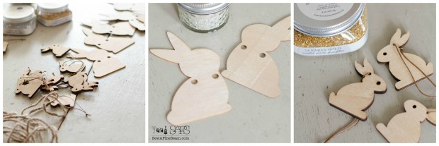 glass glitter bunnies wood