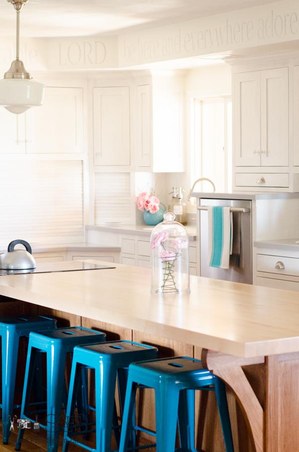 milk paint on custom kitchen cabinets