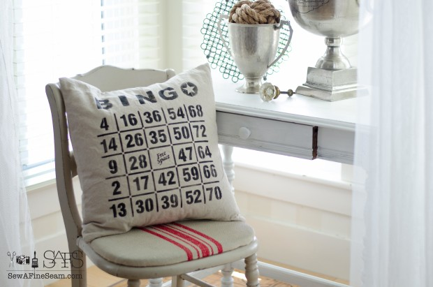 bingo stenciled pillow - feather filled form stencil from Funky Junk Interiors