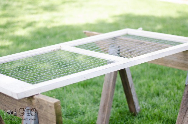 making a jewelry display with an old window and fencing