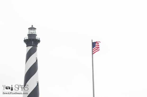 hatteras lighthouse and flag