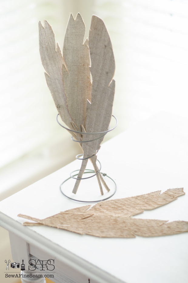 pallet wood cut thin and made into feathers