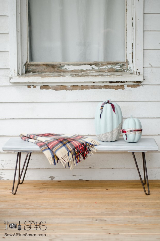 Rusty Vintage Hairpin legs saved from the landfill give a bench a fun detail