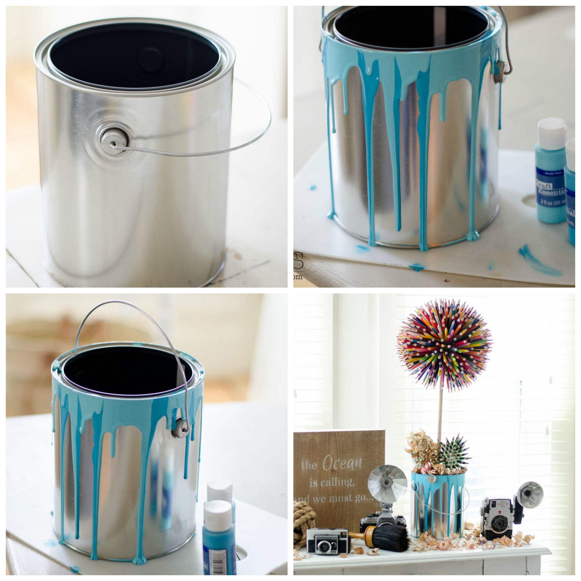 Colored Pencil Craft - Flower In A Paint Bucket