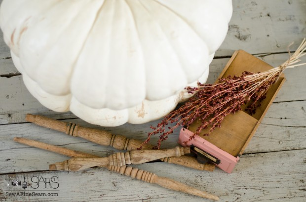 pumpkins and vintage finds for fall decor