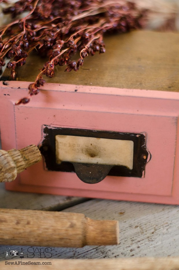 Vintage Desk Drawer and old spindles become fall decor