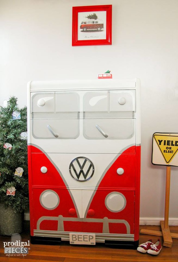 Beep II red and white vw bus dresser makeover
