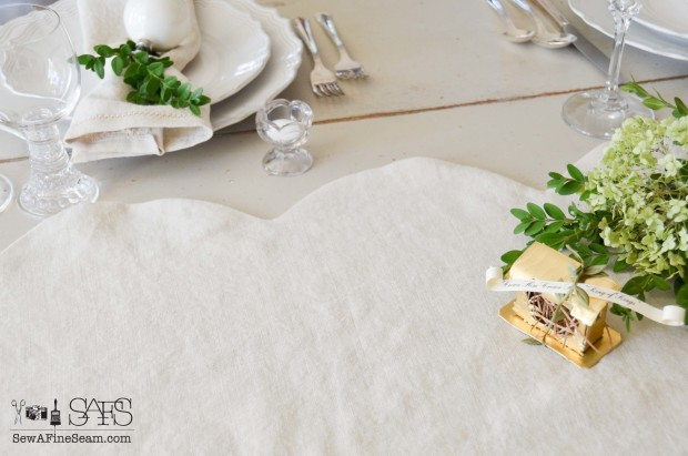 scalloped linen table runner for christmas - tutorial included