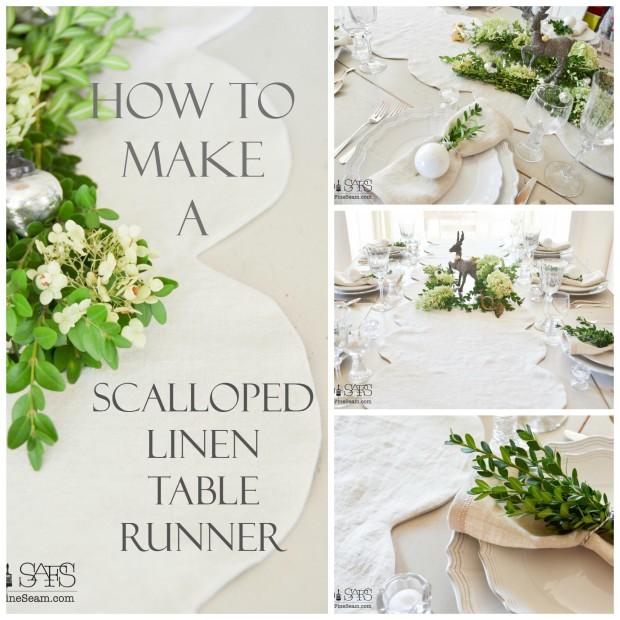 scalloped linen table runner tutorial
