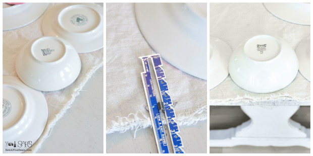 how to create the scallops along the edge of a handmade table runner
