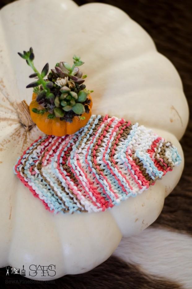 succulent stuffed pumpkin and knit leaf